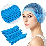 100 Pieces Disposable Bouffant Caps- Free Size Non-Woven Mob Caps Breathable Anti Dust Hair Net Cap with Elastic Band Lightweight Unisex Head Net Caps for Kitchen Cafeteria Beauty Salon Labs