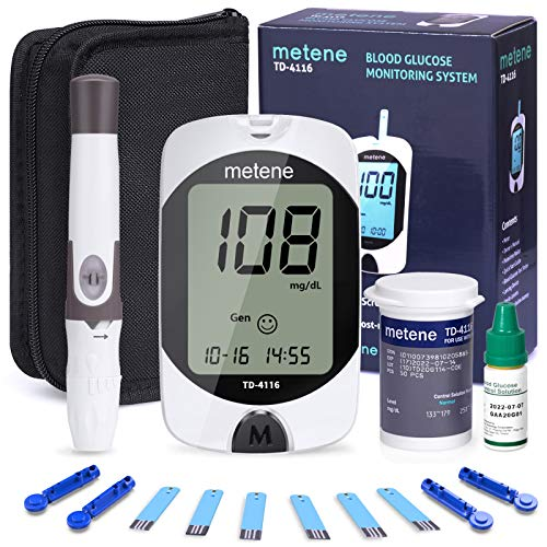 Diabetes Testing Kit, 50 Lancets, 50 Glucometer Strips, 1 Blood Glucose Meter, 1 Lancing Device, Blood Sugar Monitor Kit with Test Strips and Lancets, Sugar Machine for Diabetes, No Coding