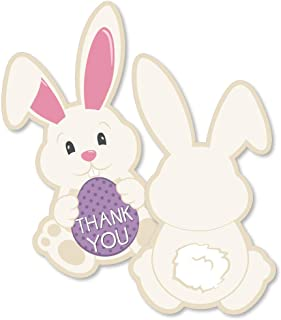 Hippity Hoppity - Shaped Thank You Cards - Easter Bunny Party Thank You Note Cards with Envelopes - Set of 12