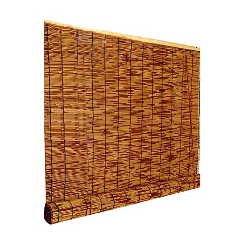 DLMSDG Roller Blinds, Natural Reed Curtain, Bamboo Blinds Roller Shade, Hand-Woven, Sunshade/Heat Insulation,for Indoor, Outdoor, Gazebo, Balcony, Kitchen(65x110cm/26x44in)
