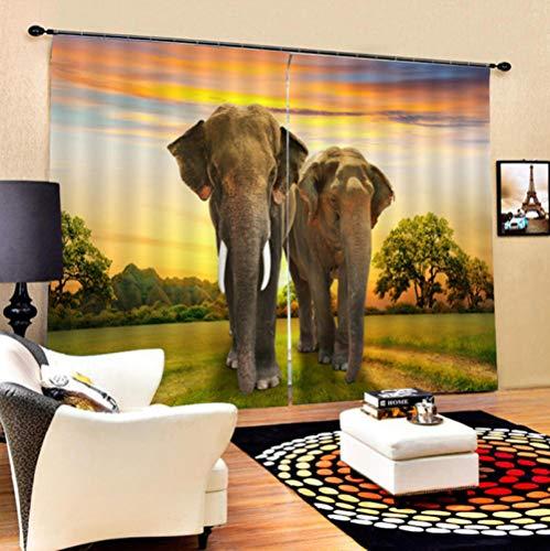ZLXSAM Gardinen Vorhang Afrika Savanne Elefant L55 X63 W/140X160Cm Vorhang Gardinen Blickdicht Mit Ösen, Leichter & Weicher Verdunklungsvorhang Für Wohnzimmer Schlafzimmer Tür