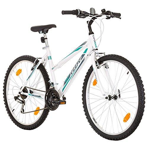 Multibrand, PROBIKE 6th SENSE, 460 mm, 26 pulgadas, Mountain Bike, 18 velocidades, Set de Mudgard, Para mujeres, Blanco-Rosa (Blanco-Turquesa (Shimano))