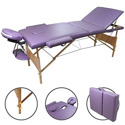Table de massage Bois Pliante 3 zones livrée avec accessoires - Revêtement VIOLET- Qualité CE - Garantie 2 ans - Utilisation professionnelle ou personnelle. Satisfait ou remboursé. Achat groupé revendu à l'unité pour un prix compétitif.
