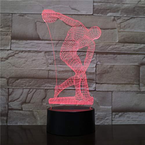 Discus 3D LED Tischleuchte Nacht Skulptur Charakter Touch Sensor RGBW Dekoratives Licht Kind Kind Discobolus Nachtlicht