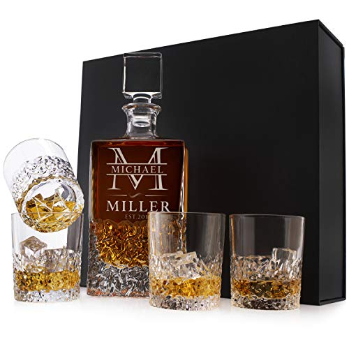 Personalized 5 pc Whiskey Decanter Set - Custom Liquor 23 oz, 680ml Crystal Decanter w/ 4pcs Whiskey Glass Set, Gift for Men, Gift for Husband, Dad Gifts from Daughter #2