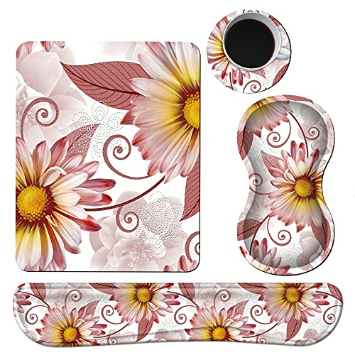 Keyboard Wrist Rest + Mouse Pad + Mouse Wrist Rest Support Set + Coaster, Ergonomic Memory Foam Mouse and Keyboard Pad Set for Laptop Computer Office Home Working Gaming, Pink Daisy Flower