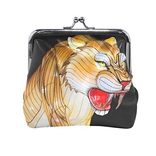 Laterne Tiger PU Leder Münzgeldbörse Kartenpaket Brieftasche für Frauen Metallknopf