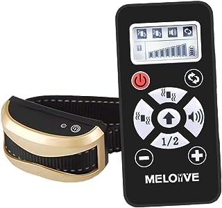 Meloive Collar Recargable Antiladrido Perros con Alcance de 730m, Collar de Adiestramiento con Modos Automático y Manual, 7 Niveles de Vibración, Sonido.