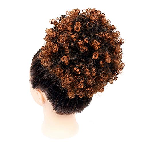 GX Beauty Afro Ponytail Drawstring African American Curly Ponytail Hair Extensions Synthetic Kanekalon Puff Ponytail Hair Piece for Black Women(#T30)