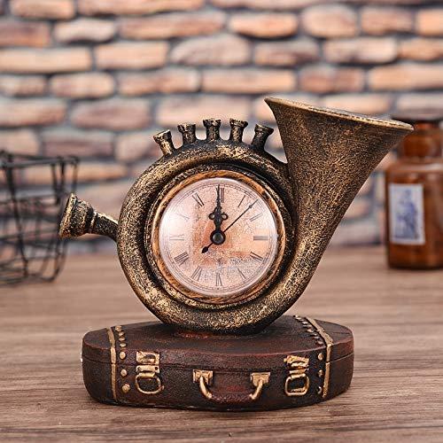 Creative retro resina decorativa artesanía creativa maleta saxofón reloj adornos modelo sala de estar en casa (color: cobre)