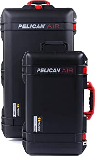 Black & Red Combo Package of Pelican 1615 & 1535 Cases. Both are Empty, with Wheels.