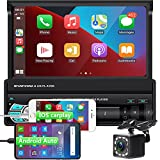 1DIN Autoradio Bluetooth 7 Zoll Touchscreen, CarPlay & Android Auto, Universal Multimedia Player Auto mit Rückfahrkamera + Lenkradsteuerung, Unterstützt Mirror Link/FM Radio/TF/USB/AUX