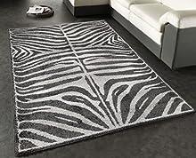 Alfombra de Salón Diseño de Cebra Blanco y Negro (160_x_235_cm)