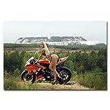 Aya611 Kunst Malerei Wandkunst Hot Girl mit Motorrad Malerei Poster und Drucke sexy Frau mit...