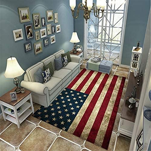 xiangpiaopiao Alfombra Alfombra Vintage Bandera Americana Impresa En 3D Decoración para El Hogar Alfombra Suave Antideslizante (20082Dt) 140X200Cm