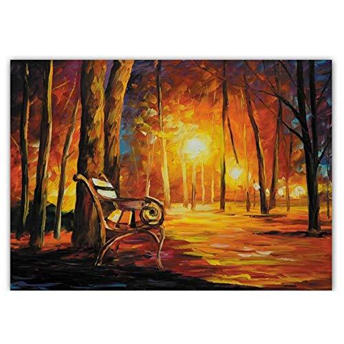 ZSDGY Chaises Longues, Luminaires, Peinture à l'huile des Arbres, Peintures Murales De Chaise De Rue Abstraite Européenne, Peinture Décorative sans Cadre à Jet d'encre (sans Cadre),40cm*60cm