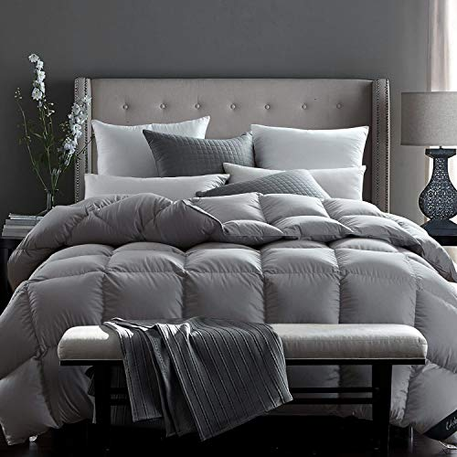 Globon Fusion White Goose Down Comforter King Size,Heavy Weight for Winter, 60OZ, 650 Fill Power, 100% Cotton Shell Corner Tabs, Grey…