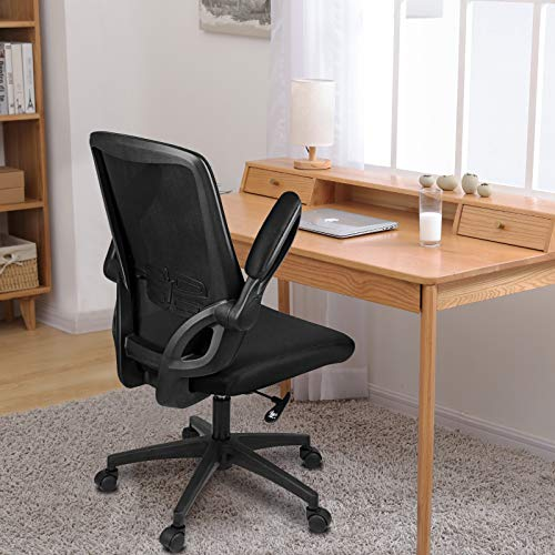 Bigzzia Office Desk Chair, Flip-up Armrest Ergonomic Chair Mesh Computer Chair with 360° Rotation Seat and Adjustable Lumbar Support (Black)