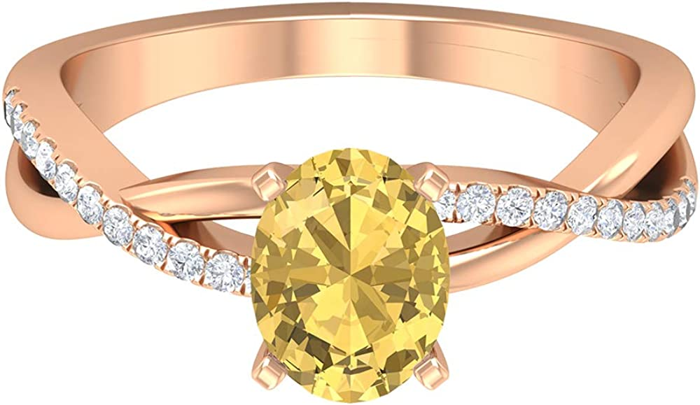 1.50 CT Citrine Solitaire Ring with Moissanite Accent (8X6 MM Oval Cut Citrine), 14K Gold