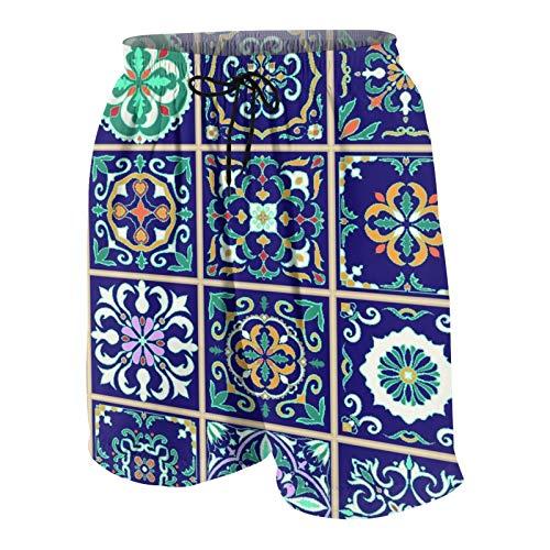 KOiomho Uomo Personalizzato Costume da Bagno,Set di Piastrelle Portoghesi, Azulejo, Talavera, Ornamenti Marocchini,Casuale Beachwear Costumi Pantaloncini da Surf