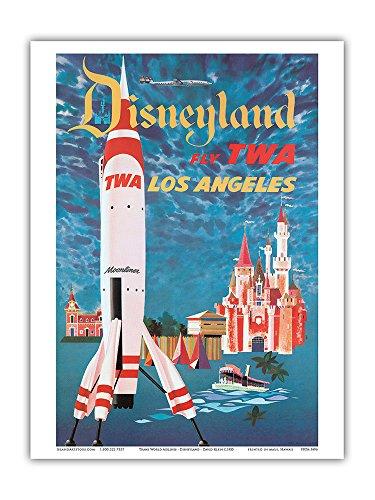 Pacifica Island Art Fly TWA Los Angeles–Trans World Airlines–Disneyland 's Tomorrowland TWA Moonliner–Vintage Airline Travel Poster von David Klein c.1955–Master Kunstdruck 9