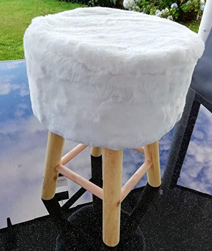 Fellhocker aus Holz Ø 30 x 42 cm Kunstfellsitz (Weiß)