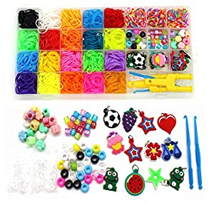 Include: 23 Assorted Colors Loom Bands(2000+),20 round colorful beads,20 ABC Beads,20 colorful beads,2 Backpack Hooks,24 S-Clips,10 charms,2 Crochet Hooks,2 Y Looms These bands can be used to create backpack hanging toys, bracelets, hair bands, charm...