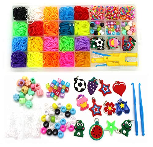 Rubber Bands Refill Kit-Assorted Colors Loom Bands(2000+)-24 S-Clips, 2 Y Looms, 60 Beads, 10 Charms, 2 Backpack Hooks,Crochet Hooks-loom bands Add On Accessories-Bracelet Making Kit For Kids