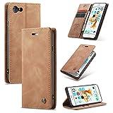 AKC Funda Compatible para iPhone 6/6s Carcasa con Flip Case Cover Cuero Magnético Plegable Carter Soporte Prueba de Golpes Caso-Marrón