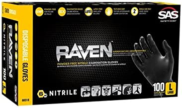 SAS Safety 66519 Raven Powder-Free Nitrile Disposable Glove, X-Large, 6 mil Thick (Pack of 100)