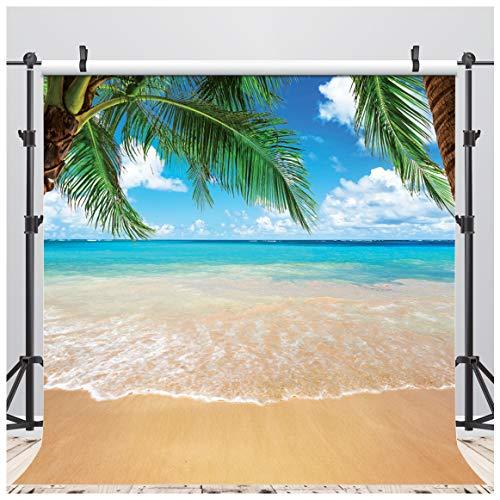 AIIKES 10x10FT Fondo de Fotografía de Playa de Verano Fondo de Fotografía de Vinilo Cielo Azul Fondo de Nubes Blancas Fondo de Mar Azul Fondo de Palmeras Fondo de Fiesta de Vacaciones Fondo 11-063