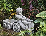 Detailed Stone Cast Garden Ornament of a 'Boy and Tractor'