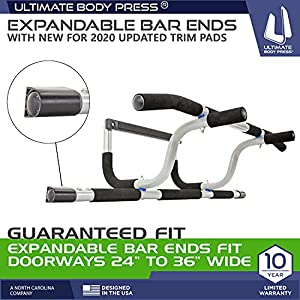 Ultimate Body Press XL Doorway Pull Up Bar with Elevated Bar & Adjustable Width