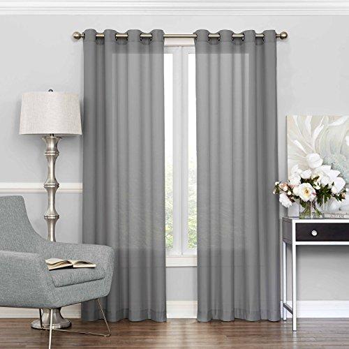 """ECLIPSE Sheer Bedroom-Liberty 52"""" x 84"""" Light Filtering Grommet Top Single Window Panel Curtain Living Room, Grey"""