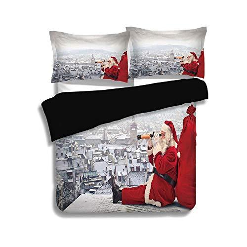 Juego de funda nórdica negra, Navidad, Papá Noel sentado en el techo, mirando a través de los prismáticos, paisaje urbano nublado, gris rojo claro, juego de cama decorativo de 3 piezas con fundas de a