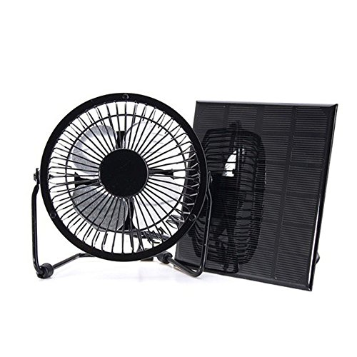 NUZAMAS 3W 6V Solar Panel Powered USB Mini Fan for Camping Caravan Yacht Greenhouse Dog House Chicken House Ventilator