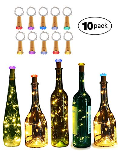 Genround 10 Packs Wine Bottle Lights, Diamond Shape Led Bottle Lights [Battery Operated] Fairy String Light for Valentine's Day, Wedding, Party(Warm White)