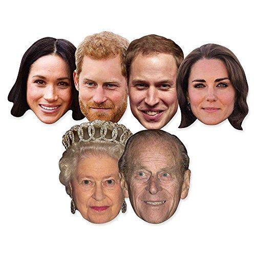 Star Einbauöffnungen SMP369Six Pack Masken von Royal Paare inkl. Prince Harry, Meghan markle, Prince Philip, The Queen, Prince William und Kate die Herzogin von Cambridge, Hand/A