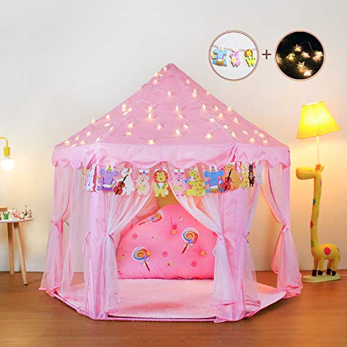 Yoobe Hexagon Princess Castle Play Tent Indoor for Kids Gift with 23ft Star Lights and Animal Cards