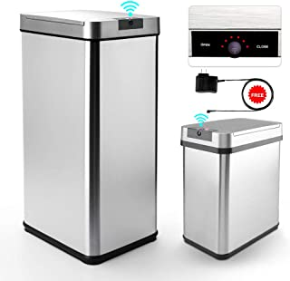 Secura 13 Gallon and 2.4 Gallon Automatic Trash Can with Odor-Absorbing Filter, Stainless Steel Adjustable Sensor Kitchen Trash Bin with Motion-Sensing Lid, LED Countdown Timer