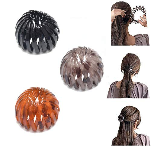 Ponytail Hairpin Curling Iron, Vintage Geometric Retractable Hair Loops, Birds Nest Hair Clip, Expandable Ponytail Holder, Fashion Retro Leopard Print Bird Nest Hairstyle Headbands for Women (gold, 3pcs)