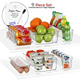 StorageMaid Stackable Storage Fridge Bins - Refrigerator Organizer Bins for Fridge, Freezer, Pantry and Kitchen. Includes Bonus Magnetic Dry-Erase Whiteboard & Markers Set (Multi - Size Pack)