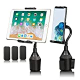 Tablet Holder for Car, iPad Truck Mount Gooseneck Cup Holder Tablet Stand Phone Holder Compatible with iPhone 12/ 11 Pro/11/XS Max/XR/X/8/7/SE Samsung Galaxy S20/S10/S9/S8/S7