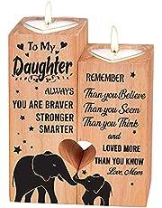 Hjärtformad ljusstake jul-alla hjärtans dag födelsedag årsdag träljushållare – födelsedagspresent för dotter ljusstake, träljushållare (till min dotter)