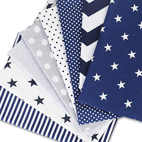 Speedsporting – Tela de algodón por metros, patchwork, 8 unidades de 50 x 80 cm, tejido cuadrado de algodón para coser, Modelo 6, 8 unidades