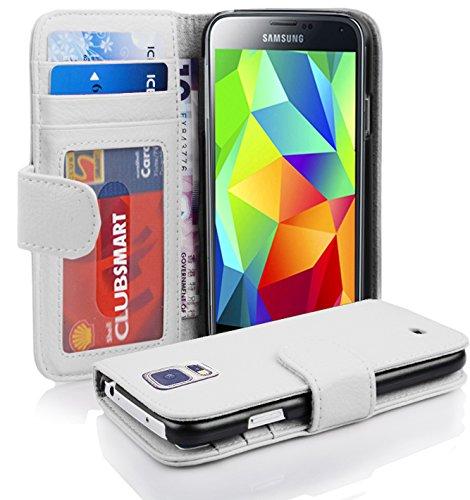 Cadorabo Hülle für Samsung Galaxy S5 / S5 NEO - Hülle in Magnesium WEIß – Handyhülle mit 3 Kartenfächern - Case Cover Schutzhülle Etui Tasche Book Klapp Style