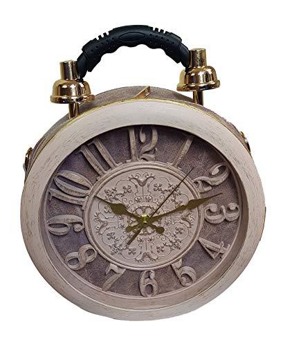 Einkaufszauber Designer Handtasche mit echter Uhr Beige