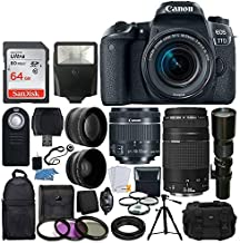 Canon EOS 77D DSLR Camera + Canon EF-S 18-55mm is STM Lens + Canon EF 75-300mm III Lens + Wide Angle & Telephoto Lens + 64GB Memory Card + Telephoto 500mm f/8.0 (Long) + Wireless Remote + Accessories