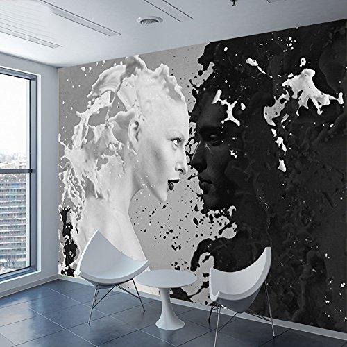 Personnalisé Noir Blanc Lait Amoureux Photo Papiers Peints Pour Le Mur 3 d Salon Chambre Magasin Bar Café Murs Peintures Murales Rouleau Papel De Parede papier peint panoramique - 1㎡(1 mètre carré)