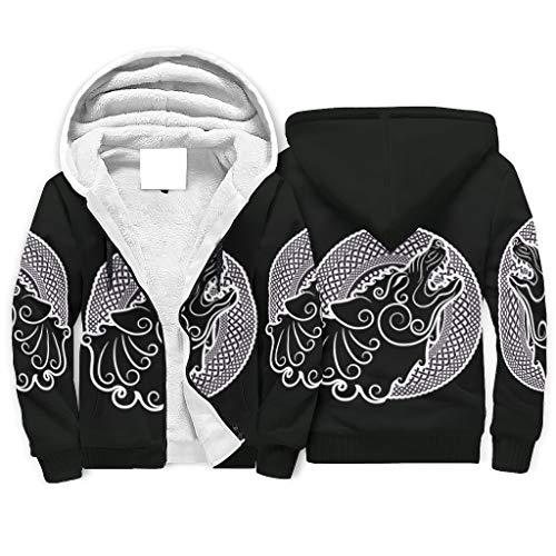 Gamoii Sudadera con capucha para hombre y mujer con forro de Sherpa, diseño vikingo lobo, color blanco y negro, estampado 3D, con capucha y cremallera, Unisex adulto, Blanco, 4XL